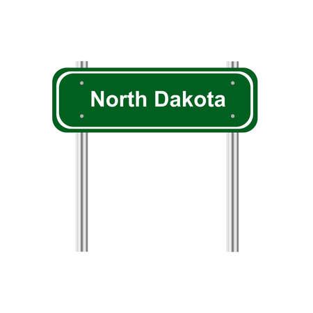 green road sign: Green road sign US state North Dakota Illustration