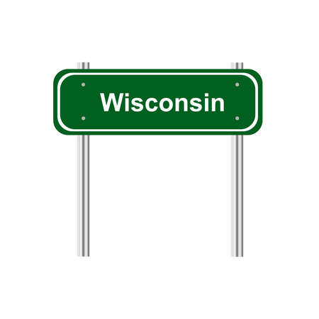 wisconsin: Green road sign US state Wisconsin