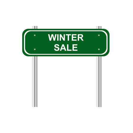 traffic pole: Green road sign winter sale