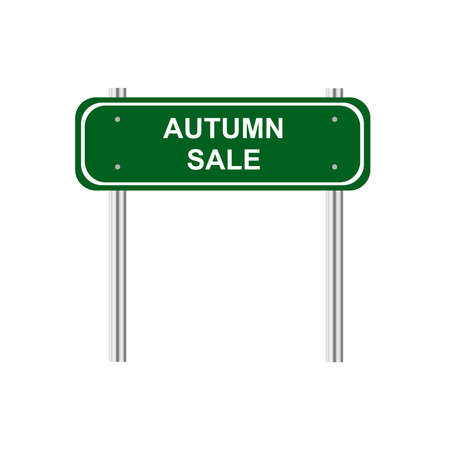 green road: Green road sign Autumn sale