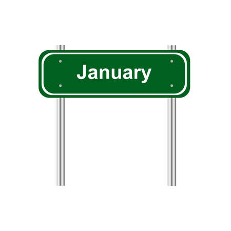 green road: Green road sign month january Illustration