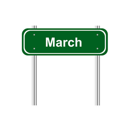 green road: Green road sign month March Illustration