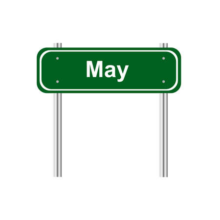 green road: Green road sign month May Illustration