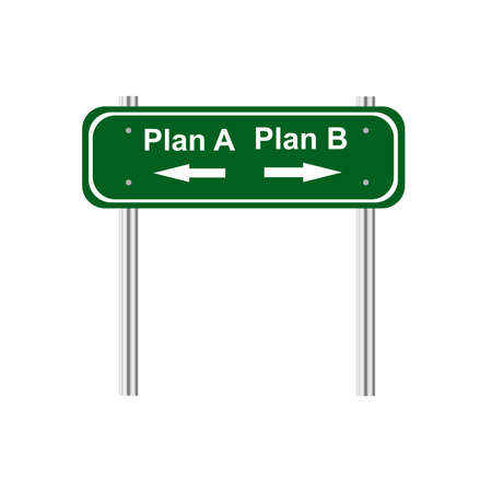 green road: Green road sign Plan A