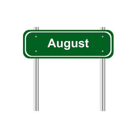 august: Green road sign month August Illustration