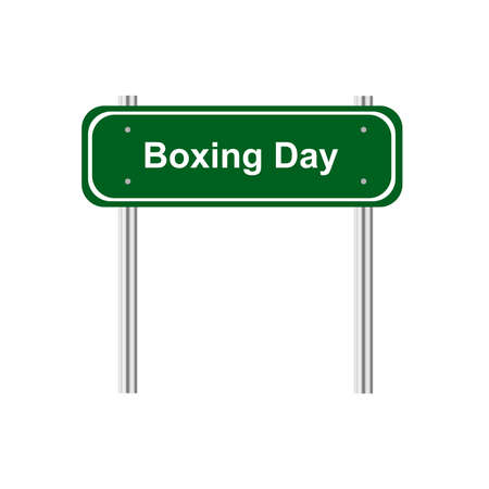 green road: Green road sign celebration Boxing Day Illustration