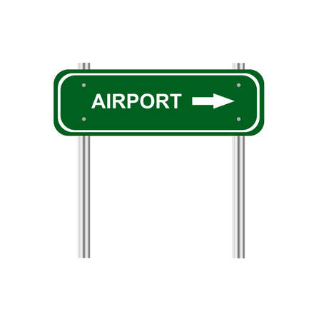 green road: Green road sign airport Illustration