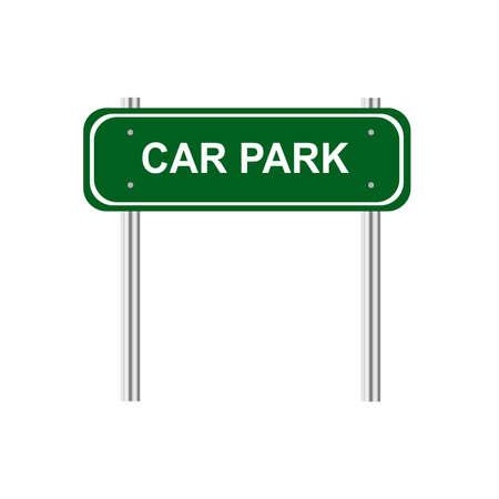 car park: Green road sign car park