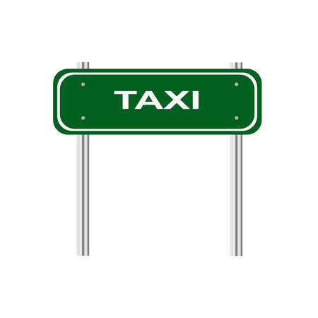 green road: Green road sign taxi Illustration