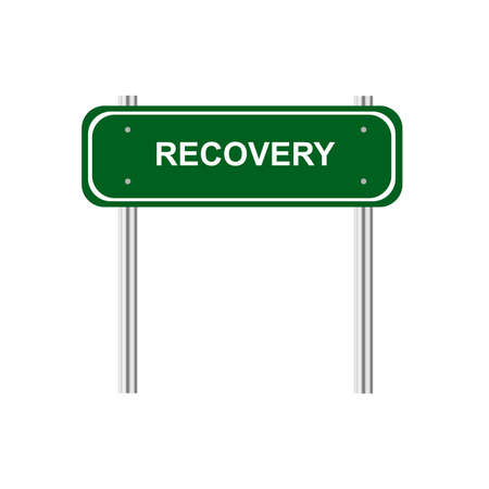 road to recovery: Green road sign recovery Illustration