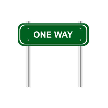 one way: Green road sign one way