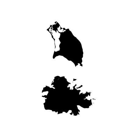 barbuda: Map of Antigua and Barbuda Illustration