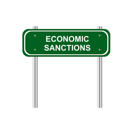 sanction: Green road sign economic sanction Illustration