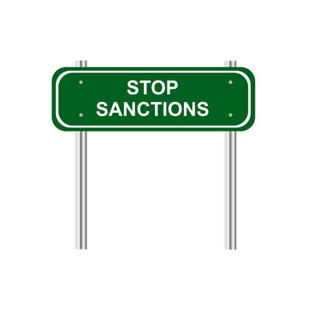 sanction: Green road sign stop sanction Illustration