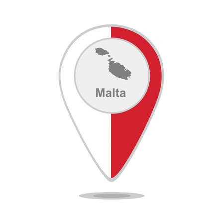 map malta: A pointer with map and flag of Malta
