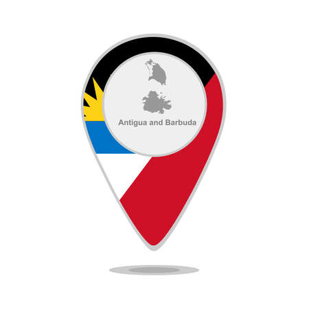 barbuda: A pointer with map and flag of Antigua and Barbuda