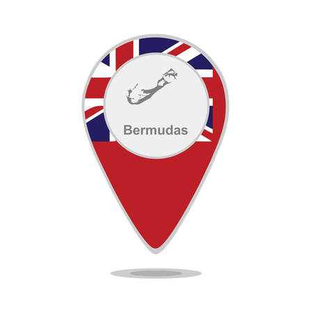 bermuda: A pointer with map and flag of Bermuda