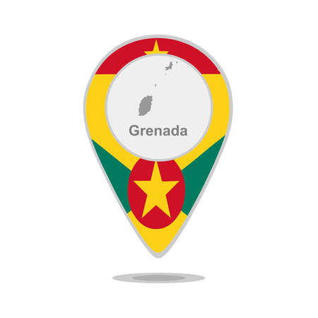 grenada: A pointer with map and flag of Grenada Illustration