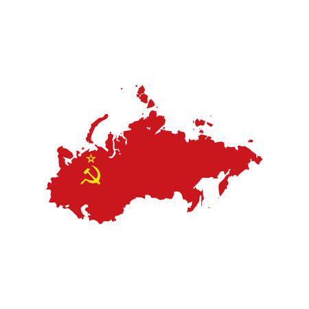 Map and flag of USSR