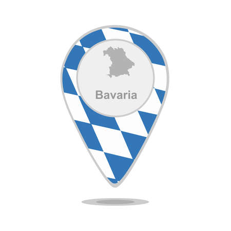bavaria: A pointer with map and flag of Bavaria Illustration