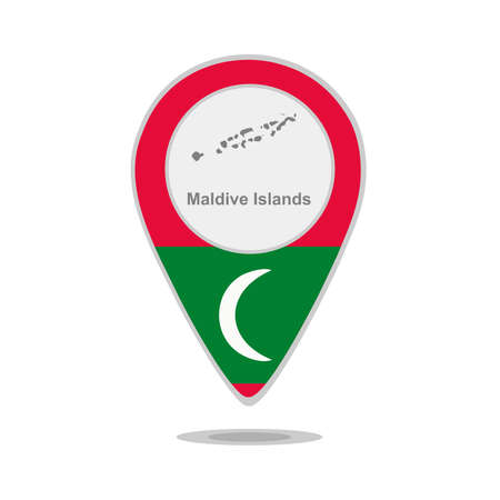 maldives island: A pointer with map and flag of Maldive Islands Illustration