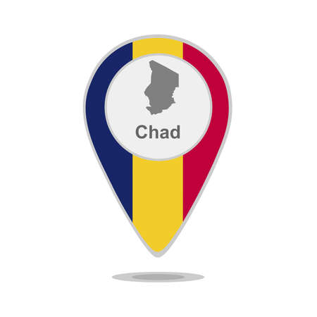 A pointer with map and flag of Chad Vetores
