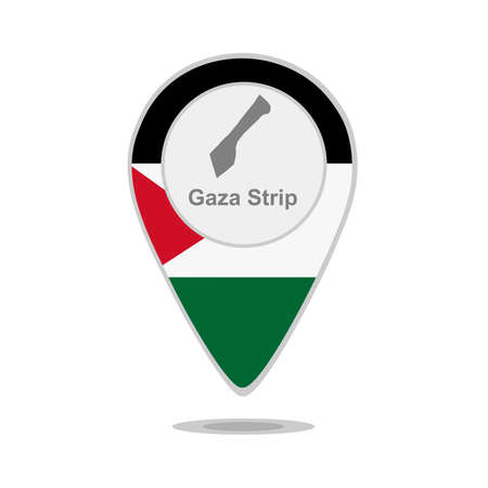 gaza: A pointer with map and flag of Gaza Strip Illustration
