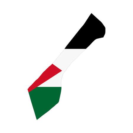 gaza: A map and flag of Gaza Strip Illustration