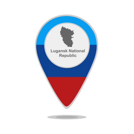 luhansk: A pointer with map and flag of Lugansk National Republic Illustration