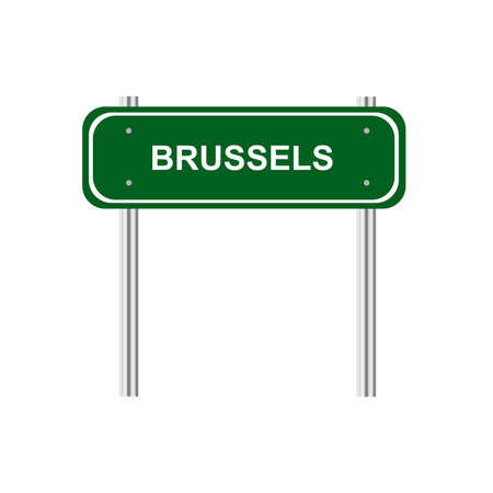 green road sign: Green road sign Brussela