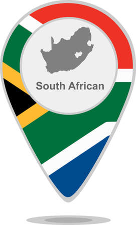 south african: A pointer with map and flag of South African