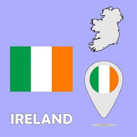 ireland flag: A pointer map and flag of Ireland Illustration