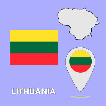 lithuania: A pointer map and flag of Lithuania Illustration