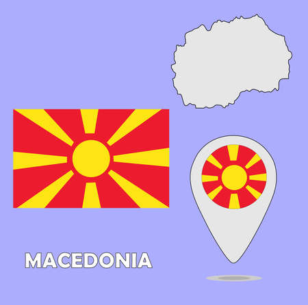 macedonia: A pointer map and flag of Macedonia