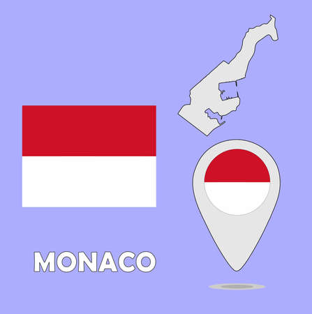 monaco: A pointer map and flag of Monaco