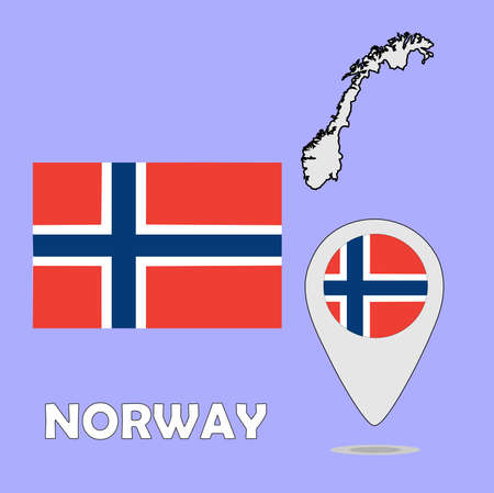 norway flag: A pointer map and flag of Norway Illustration