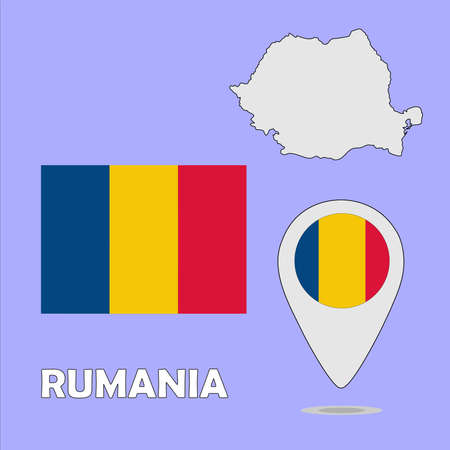 rumania: A pointer map and flag of Rumania
