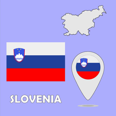 slovenia: A pointer map and flag of Slovenia