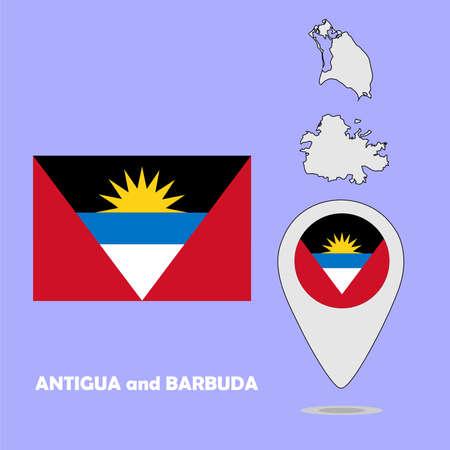 barbuda: A pointer map and flag of Antigua and Barbuda Illustration