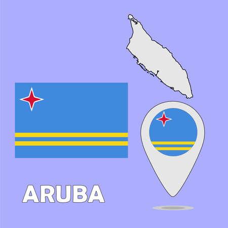 aruba flag: A pointer map and flag of Aruba Illustration