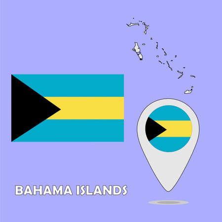 bahama: A pointer map and flag of Bahama Islands