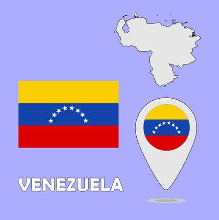 mapa de venezuela: Un puntero del mapa y la bandera de Venezuela Vectores