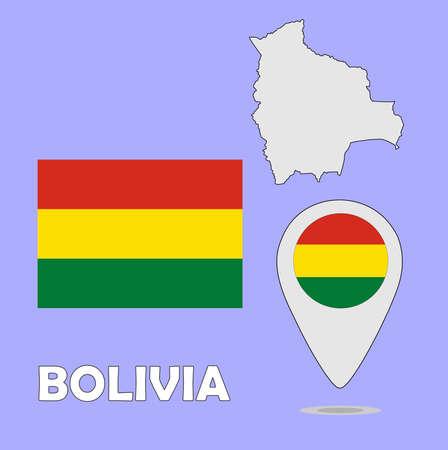 mapa de bolivia: Un puntero del mapa y la bandera de Bolivia Vectores