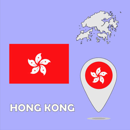 ensign: A pointer map and flag of Hong Kong