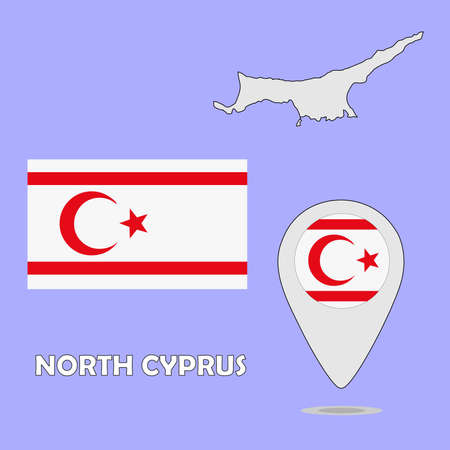 Una mappa puntatore e bandiera di Cipro Nord