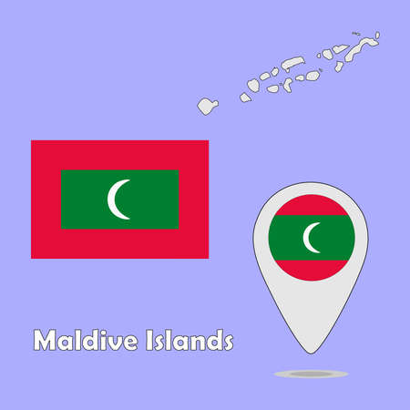 maldives island: A pointer map and flag of Maldive Islands