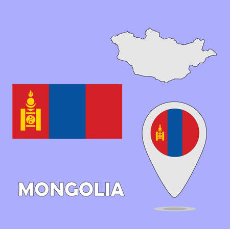 mongolia: A pointer map and flag of Mongolia
