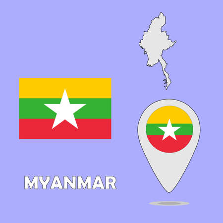 myanmar: A pointer map and flag of Myanmar