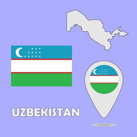 uzbekistan: A pointer map and flag of Uzbekistan