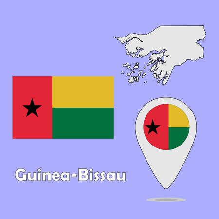 guinea bissau: A pointer map and flag of Guinea-Bissau